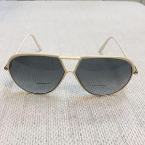 YSL Vintage White oversized aviator Sunglasses